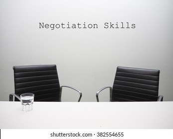 Negotiation skills on the room in the office background