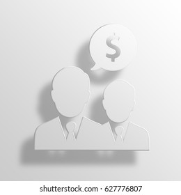 negotiations 3D Paper Icon Symbol Business Concept