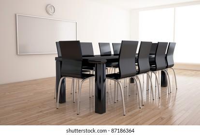 negotiations room interior 3d render