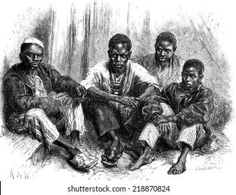 Negroes Goree civilized, vintage engraved illustration. Le Tour du Monde, Travel Journal, (1872).