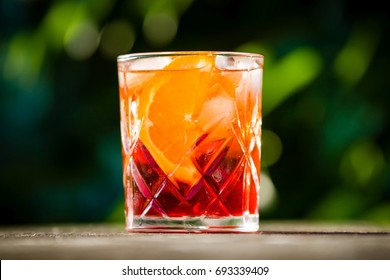 Negroni cocktail in crystal cut glass