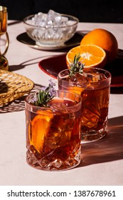 Negroni, an Iba cocktail, with 1/3 gin, 1/3 bitter, 1/3 vermut, in luxury pop style, rich and colorful.