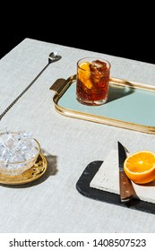 Negroni, an italian cocktail, an apéritif, first mixed in Florence, Italy, in 1919. Count Camillo Negroni asked to strengthen his Americano by adding gin rather than normal soda water.