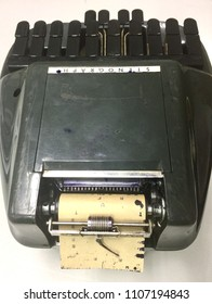 Negros Oriental, Philippines; June 4, 2018: A stenograph machine used to record proceedings at a court of law in Dumaguete City.