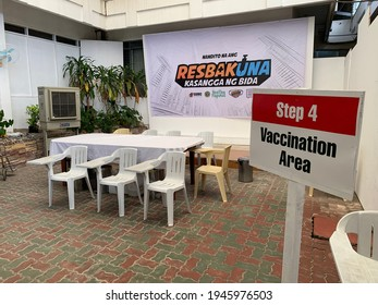 Negros Oriental, Philippines; March 30, 2021: The designated vaccination area of the Silliman University Medical Center in Dumaguete City stands empty due to the lack of available vaccines.