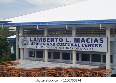 Negros Oriental, Philippines; May 25, 2018: The facade of the Lamberto Macias Sports and Cultural Center, a sporting arena and a venue for shows and other events in Dumaguete City.