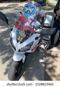 Negros Oriental, Philippines; October 10, 2019: A standard motorcycle used by the Highway Patrol Group of the Philippine National Police, is a Kawasaki Ninja outfitted for law enforcement duties