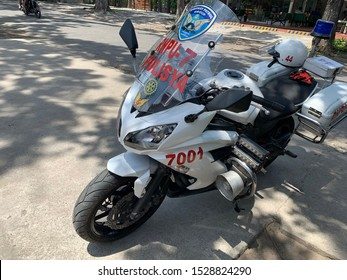 Negros Oriental, Philippines; October 10, 2019: The standard motorcycle used by the Highway Patrol Group of the Philippine National Police, is a  Kawasaki Ninja outfitted for law enforcement duties