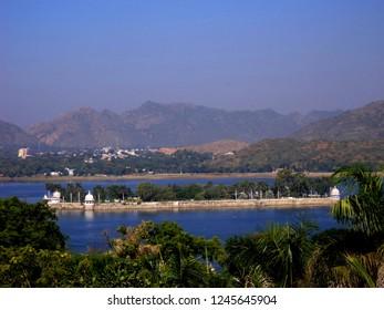 Nehru Park in Fateh sagar lake at Udaipur, Rajasthan, India