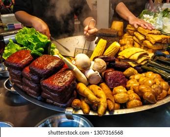Nei Wan, Hsinchu, Taiwan - Feb 5 2019: Vegan Luwei (braised food) stall