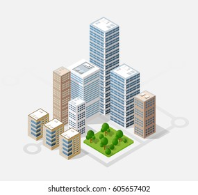 Neighborhood 3d isometric three-dimensional view of the city. Collection of houses, skyscrapers, buildings and supermarkets. The stock