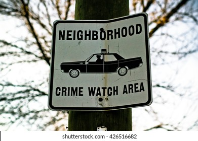 Neighborhood Crime Watch Area Street Sign