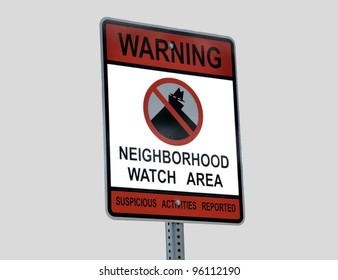Neighborhood crime watch sign at residential district Georgia, USA.