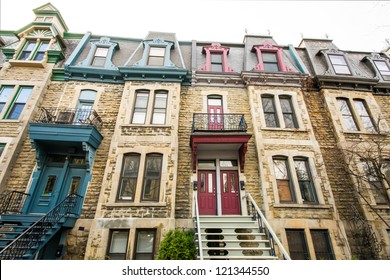 Neighborhood house in Montreal in full color.