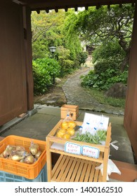 Neighborhood produce on sale with an honor system using a small lockbox with a yen symbol, the Japanese currency, for vegetables labeled as snap peas and fruit labeled as oranges in Odawara, Japan.