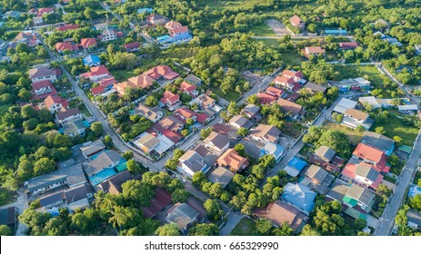 neighborhood with residential houses and driveways, land use planning concept
