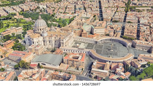 Neighborhood of St. Peter's Church in the Vatican from a height of flight