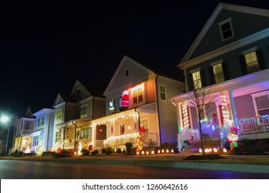 Neighborhood street with Christmas decoration and lights