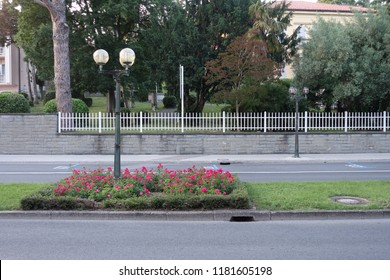 Neighborhood street road side view. Empty parking lot, flower bed road subdivision. Summer urban environment.