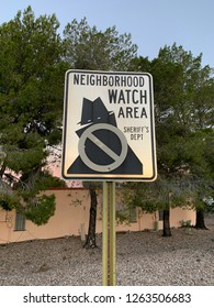 Neighborhood Watch Area, Sheriff's Department sign near residential homes