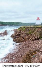 The Neils Harbour lighthouse, in Cape Breton island, Nova Scotia, Canada