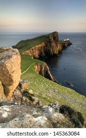 Neist Point, Isle of Skye, Scotland. Long exposure at Sunset