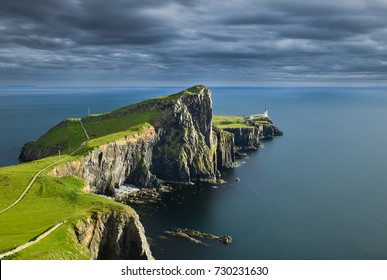 Neist Point Lighthouse - Isle of Skye in the Highlands of Scotland