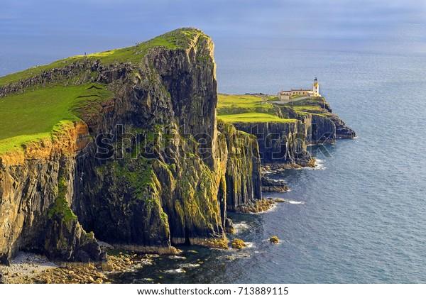 Neist point lighthouse on the Isle of Skye, Scotland, UK