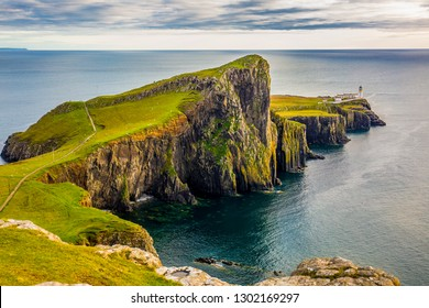 Neist Point lighthouse - viewpoint on the most westerly point on the Isle of Skye, Scotland, UK
