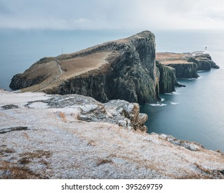 Neist Point Penninsula - Isle of Skye - Landscape - Scotland - Highlands - Coastal - West Coast - Atlantic Ocean - Cliff - Stormy Weather - Storm - Dangerous sea - Storm clouds - Lighthouse