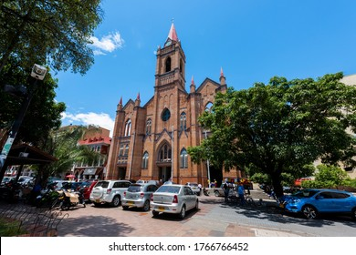 Neiva, Huila, Colombia. May 2019: Cathedral of the Immaculate Conception of Neiva and blue sky.