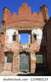 NEKRASOVO, KALININGRAD OBLAST / RUSSIA - APRIL 26 2016: Schaaken Castle is a ruined castle originally built for the Teutonic Knights in Kaliningrad oblast