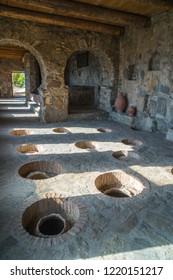 Nekresi, Georgia - 30.09.2018: Nekresi Monastery Grapes Processing Room marani, kvevri.