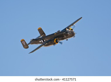 NELLIS AFB, LAS VEGAS, NV - NOVEMBER 14: B-25 Mitchell vintage WWII-era bomber aircraft performs at Aviation Nation 2009 on November 14, 2009 in Nellis AFB, Las Vegas, NV
