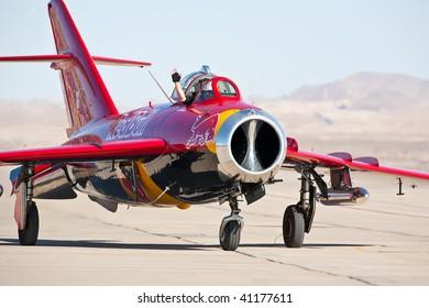 NELLIS AFB, LAS VEGAS, NV - NOVEMBER 14: Bill Reesman's MiG-17 Soviet Cold war-era fighter jet aircraft taxiing after performing at Aviation Nation 2009, November 14, 2009, Nellis AFB, Las Vegas, NV