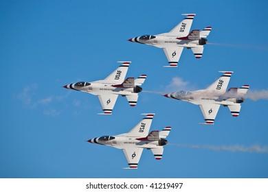 NELLIS AFB, LAS VEGAS, NV - NOVEMBER 14: US Air Force Thunderbirds air demonstration squadron flies in formation at Aviation Nation 2009 on November 14, 2009 in Nellis AFB, Las Vegas, NV