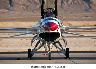 NELLIS AFB, LAS VEGAS, NV - NOVEMBER 14: USAF Thunderbirds air demonstration squadron F-16 aircraft parked on the tarmac at Aviation Nation 2009 on November 14, 2009 in Nellis AFB, Las Vegas, NV