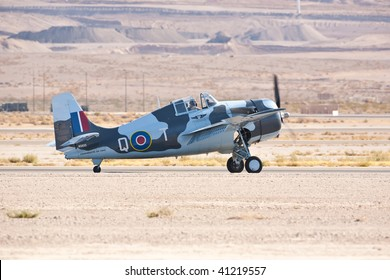 NELLIS AFB, LAS VEGAS, NV - NOVEMBER 14: Grumman F4F Wildcat WWII-era fighter aircraft lands after performing at Aviation Nation 2009 on November 14, 2009 in Nellis AFB, Las Vegas, NV
