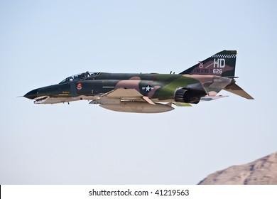 NELLIS AFB, LAS VEGAS, NV - NOVEMBER 14: McDonnel-Douglas F-4 Phantom Cold War-era fighter jet aircraft performing at Aviation Nation 2009, November 14, 2009, Nellis AFB, Las Vegas, NV