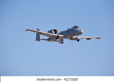 NELLIS AFB, LAS VEGAS, NV - NOVEMBER 14: Fairchild-Republic A-10 Thunderbolt II ground-attack aircraft performs at Aviation Nation 2009 on November 14, 2009 in Nellis AFB, Las Vegas, NV.