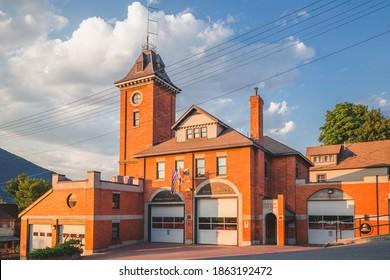 Nelson, B.C. Canada - August 4 2014: Golden evening light on Nelson's historic fire hall.
