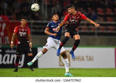 Nelson Bonilla (Red)of Bangkok United in action during The Football Thai League between Bangkok United and SCG Muangthong United at True Stadium on March 02,2019 in Pathum Thani, Thailand