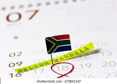 Nelson Mandela day-July 18 calendar