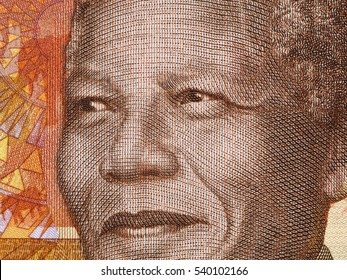 Nelson Mandela portrait on South African money 20 rand banknote close up. Leader of African people and former president of South Africa, Nobel Prize Winner.