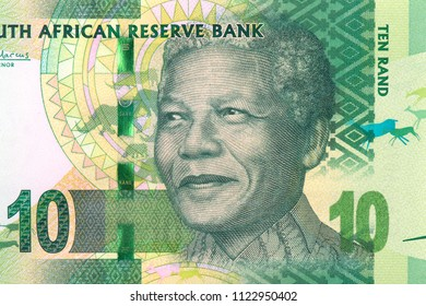 Nelson Rolihlahla Mandela. Portrait from South Africa 10 Rand 2012 Banknotes.  An Old paper banknote, vintage retro. Famous ancient Banknotes. Collection.
