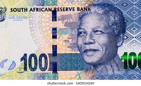 Nelson Rolihlahla Mandela., Portrait from South Africa 100 Rand 2012 Banknotes. An Old paper banknote, vintage retro. Famous ancient Banknotes. Collection.