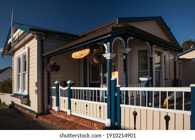 Nelson, South Island, New Zealand – August 23, 2012: Horizontal slanted view of the nineteenth Century Bermudiana cottage (originally local tradesman home, now accommodation) in historic South St