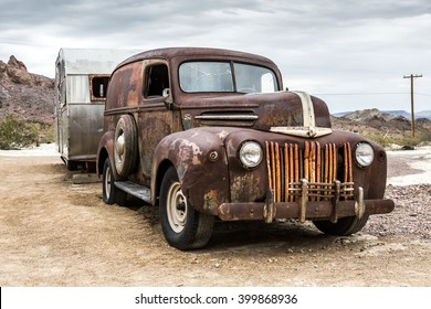 NELSON , USA - JUNE 10 : Old rusty truck and old caravan in Nelson Nevada ghost town on June 10 ,2015
