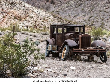 NELSON , USA - JUNE 10 : Rusty old vintage car abandoned in   Nelson Nevada ghost town on June 10 ,2015