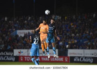 NELSON WILFREDO BONILLA SANCHEZ of Sukhothai FC during TOYOTA THAI LEAGUE 2018 between Air Force Central FC and Sukhothai FC at Thupatemi Stadium on february 10,2018 in Bangkok,Thailand.